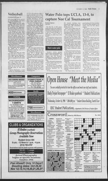 Daily Trojan, Vol. 129, No. 32, October 14, 1996