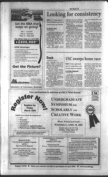 Daily Trojan, Vol. 142, No. 44, March 26, 2001