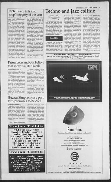 Daily Trojan, Vol. 129, No. 13, September 17, 1996