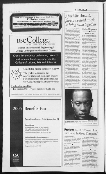 Daily Trojan, Vol. 153, No. 64, November 23, 2004