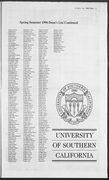 Daily Trojan, Vol. 129, No. 24, October 02, 1996