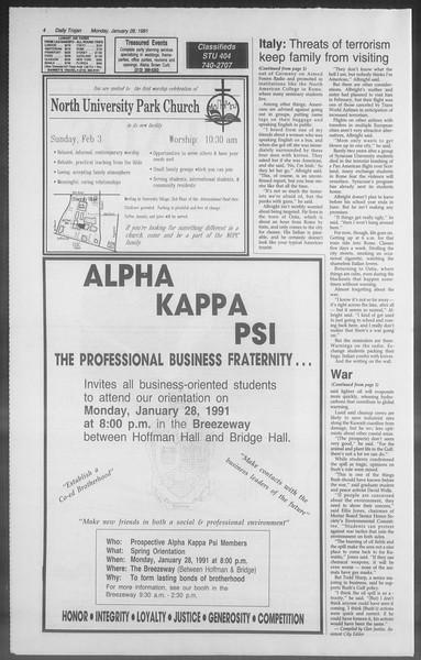 Daily Trojan, Vol. 114, No. 12, January 28, 1991