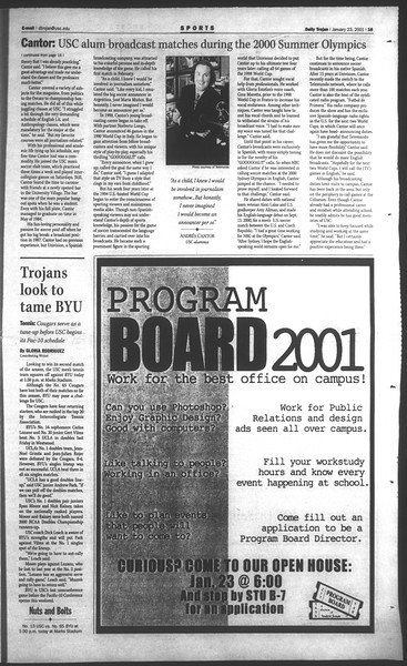 Daily Trojan, Vol. 142, No. 9, January 23, 2001