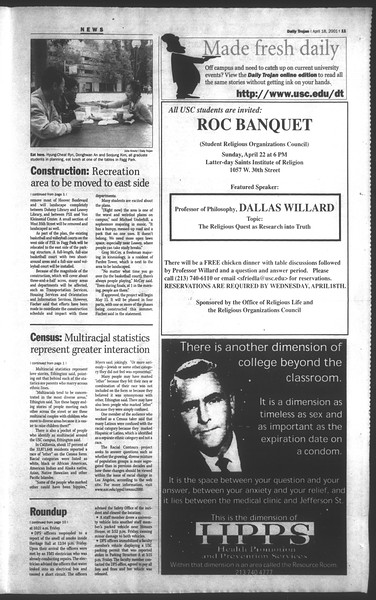 Daily Trojan, Vol. 142, No. 61, April 18, 2001
