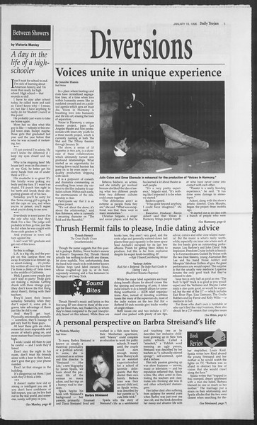 Daily Trojan, Vol. 127, No. 5, January 19, 1996