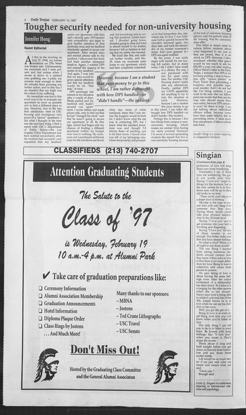 Daily Trojan, Vol. 130, No. 24, February 13, 1997