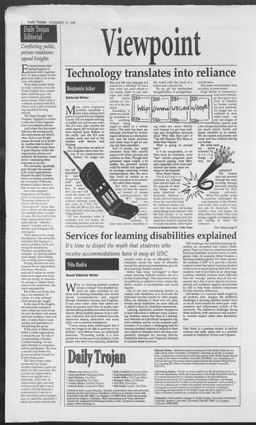 Daily Trojan, Vol. 129, No. 54, November 14, 1996
