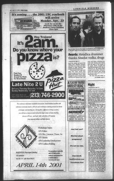 Daily Trojan, Vol. 142, No. 57, April 12, 2001