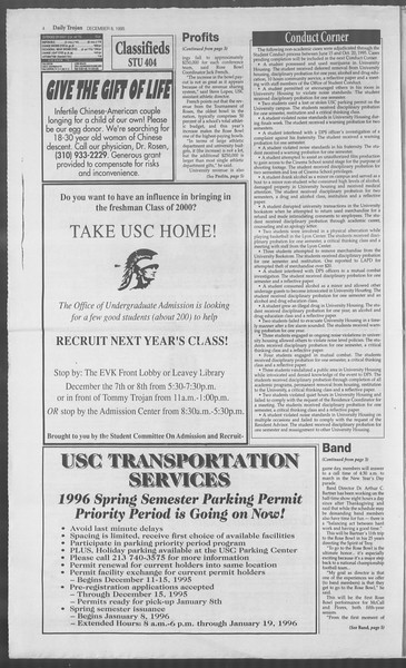 Daily Trojan, Vol. 126, No. 66, December 08, 1995