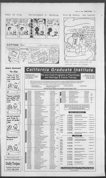 Daily Trojan, Vol. 127, No. 61, April 18, 1996