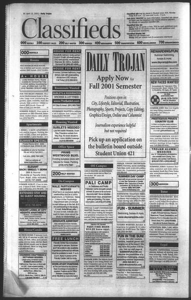 Daily Trojan, Vol. 142, No. 58, April 13, 2001