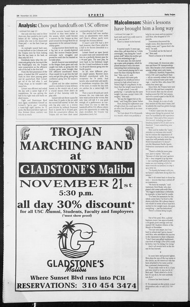 Daily Trojan, Vol. 153, No. 59, November 16, 2004