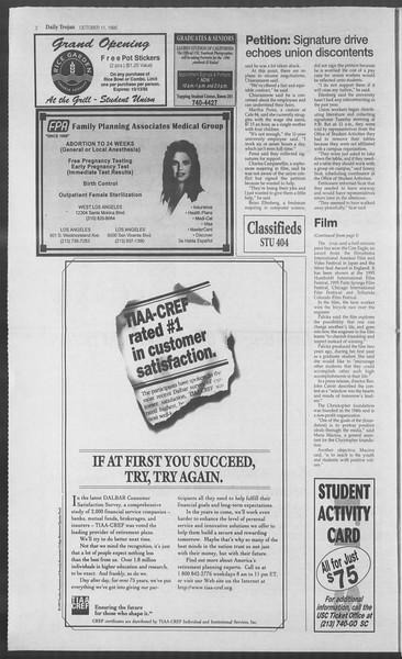 Daily Trojan, Vol. 126, No. 28, October 11, 1995