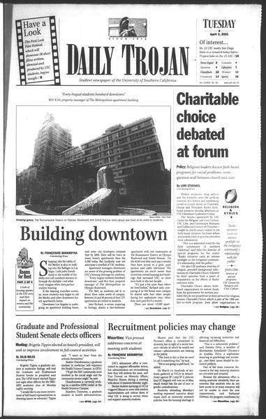 Daily Trojan, Vol. 142, No. 50, April 03, 2001