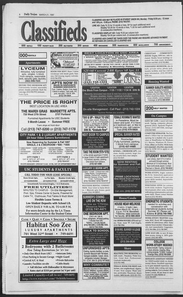 Daily Trojan, Vol. 130, No. 41, March 21, 1997
