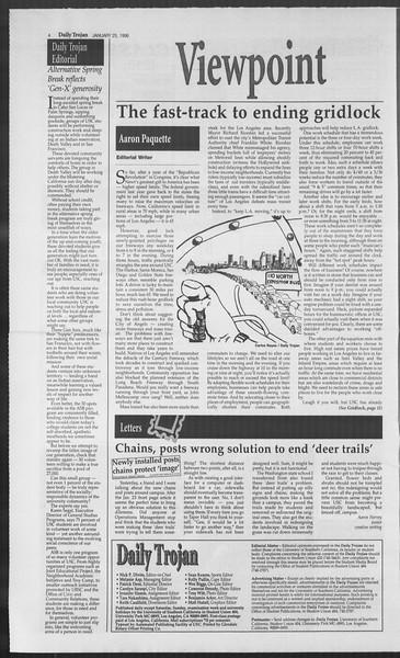 Daily Trojan, Vol. 127, No. 9, January 25, 1996