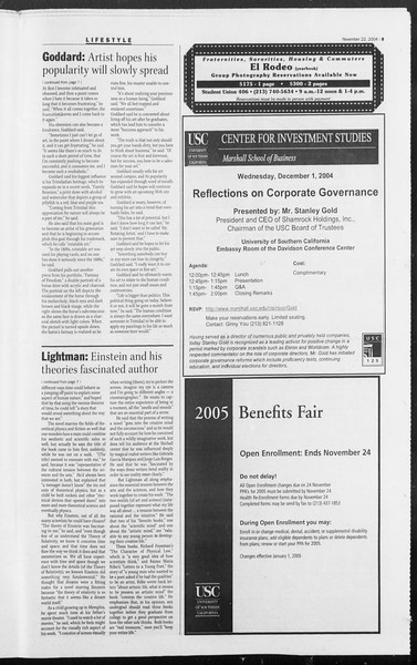 Daily Trojan, Vol. 153, No. 63, November 22, 2004