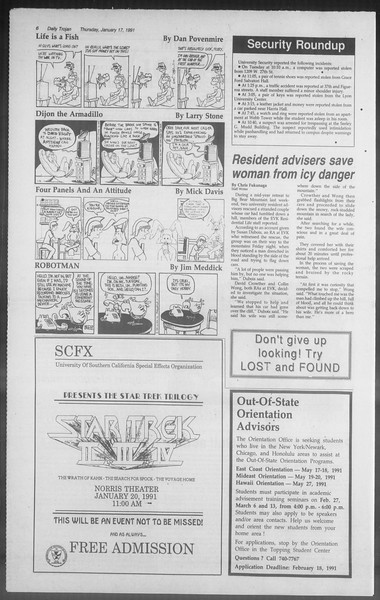 Daily Trojan, Vol. 114, No. 7, January 17, 1991