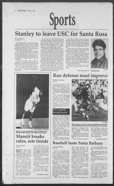 Daily Trojan, Vol. 127, No. 54, April 09, 1996