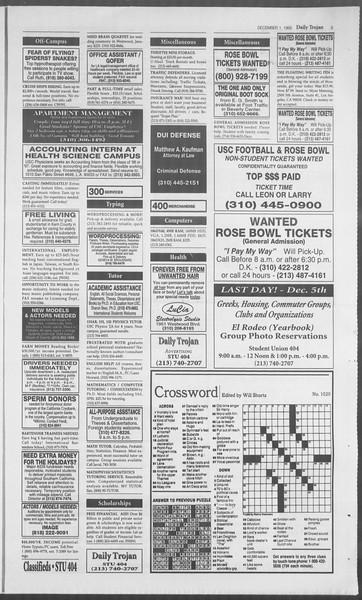 Daily Trojan, Vol. 126, No. 61, December 01, 1995