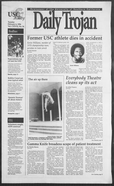 Daily Trojan, Vol. 127, No. 17, February 06, 1996