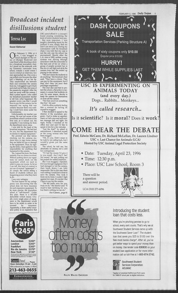 Daily Trojan, Vol. 127, No. 64, April 23, 1996