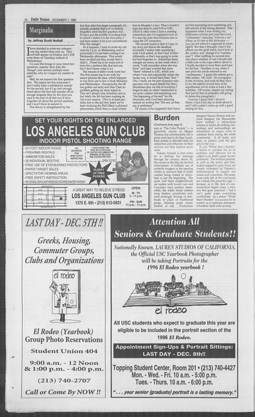 Daily Trojan, Vol. 126, No. 61, December 01, 1995
