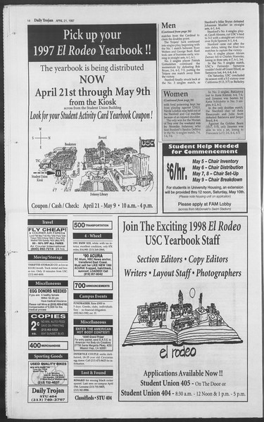 Daily Trojan, Vol. 130, No. 62, April 21, 1997