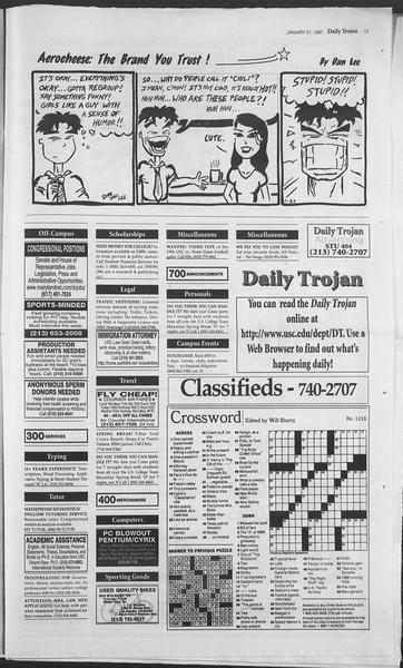 Daily Trojan, Vol. 130, No. 11, January 27, 1997