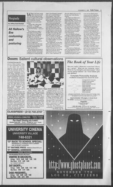 Daily Trojan, Vol. 126, No. 45, November 03, 1995
