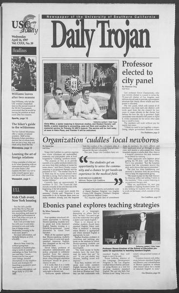 Daily Trojan, Vol. 130, No. 59, April 16, 1997