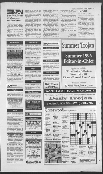 Daily Trojan, Vol. 127, No. 27, February 22, 1996