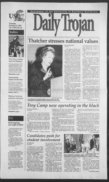 Daily Trojan, Vol. 130, No. 32, February 27, 1997