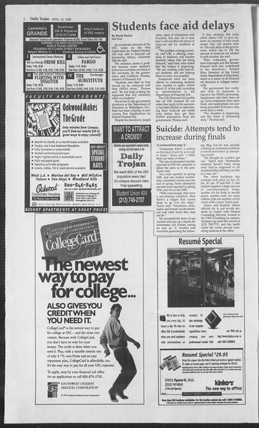 Daily Trojan, Vol. 127, No. 62, April 19, 1996
