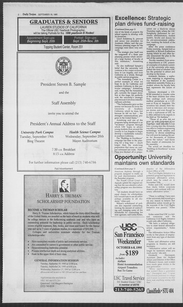 Daily Trojan, Vol. 126, No. 12, September 18, 1995