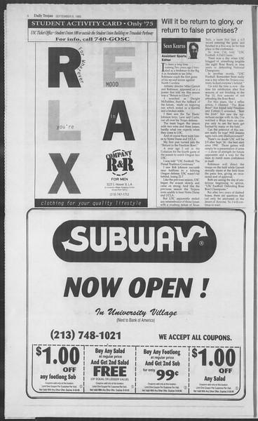 Daily Trojan, Vol. 126, No. 6, September 08, 1995