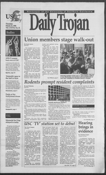 Daily Trojan, Vol. 127, No. 41, March 21, 1996