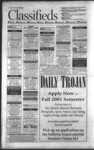 Daily Trojan, Vol. 142, No. 65, April 24, 2001