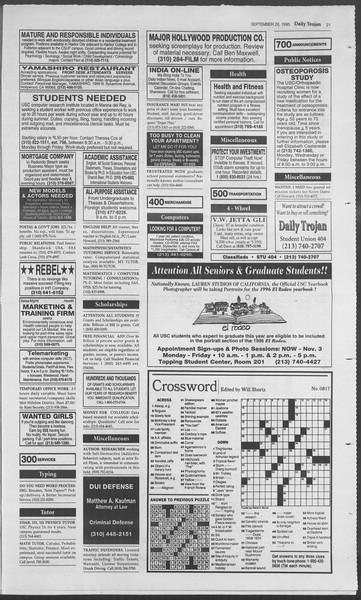 Daily Trojan, Vol. 126, No. 20, September 28, 1995