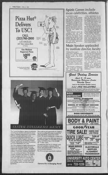 Daily Trojan, Vol. 127, No. 52, April 05, 1996