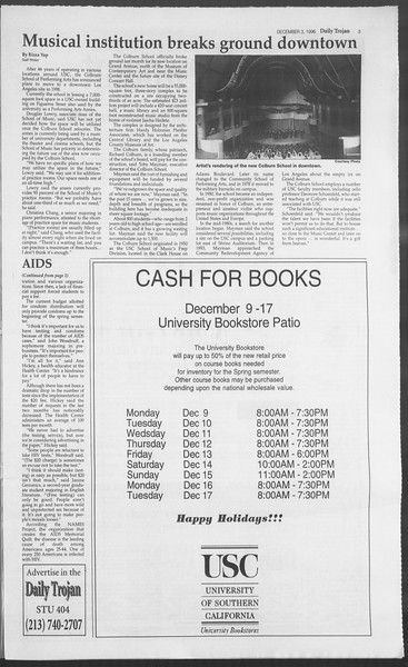 Daily Trojan, Vol. 129, No. 63, December 03, 1996