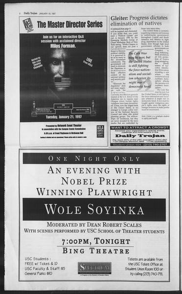 Daily Trojan, Vol. 130, No. 6, January 16, 1997