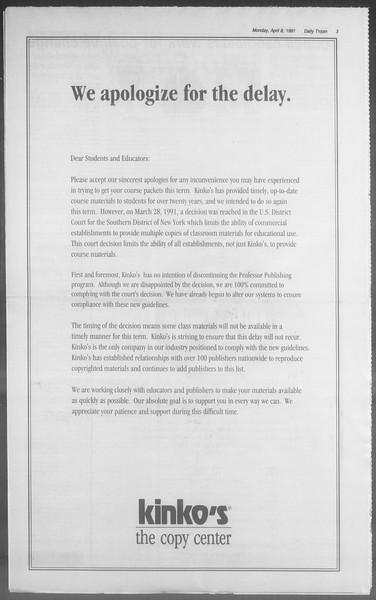 Daily Trojan, Vol. 114, No. 54, April 08, 1991