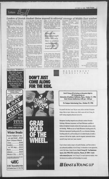 Daily Trojan, Vol. 129, No. 34, October 16, 1996