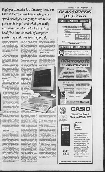 Daily Trojan, Vol. 129, No. 9, September 11, 1996