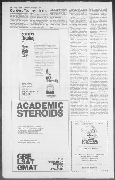 Daily Trojan, Vol. 114, No. 28, February 21, 1991