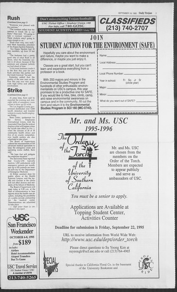Daily Trojan, Vol. 126, No. 13, September 19, 1995