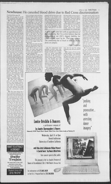 Daily Trojan, Vol. 127, No. 65, April 24, 1996