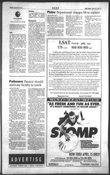 Daily Trojan, Vol. 142, No. 48, March 30, 2001