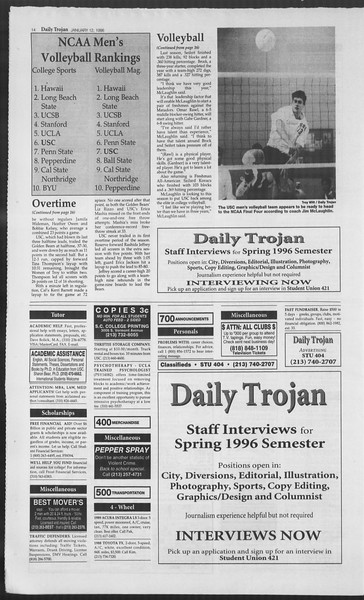 Daily Trojan, Vol. 127, No. 2, January 12, 1996